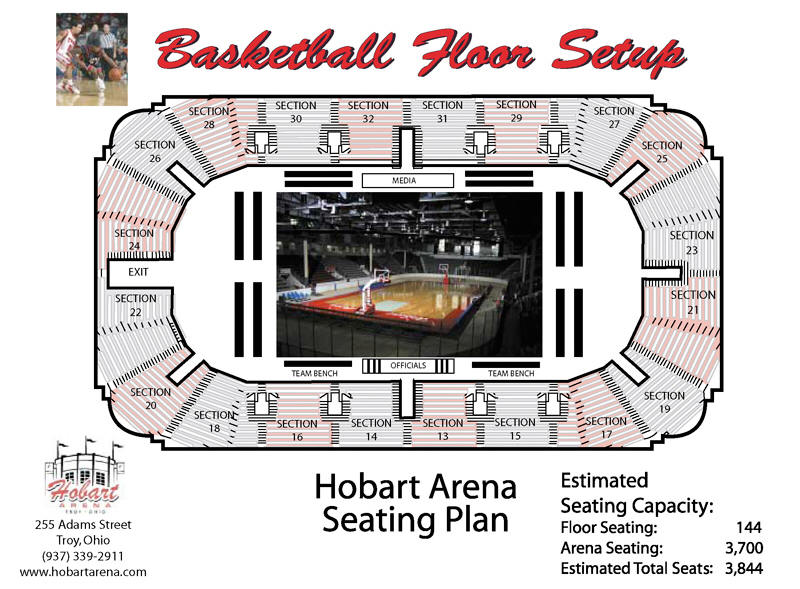 Basketball Floor Set Up for Hobart Arena in Troy, Ohio