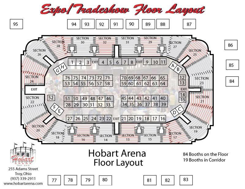 Expo Floor Plan for Hobart Arena in Troy, Ohio