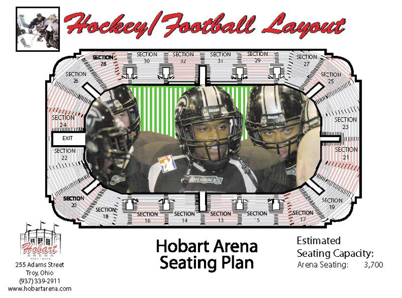 Hockey/Football Seating for Hobart Arena in Troy, Ohio